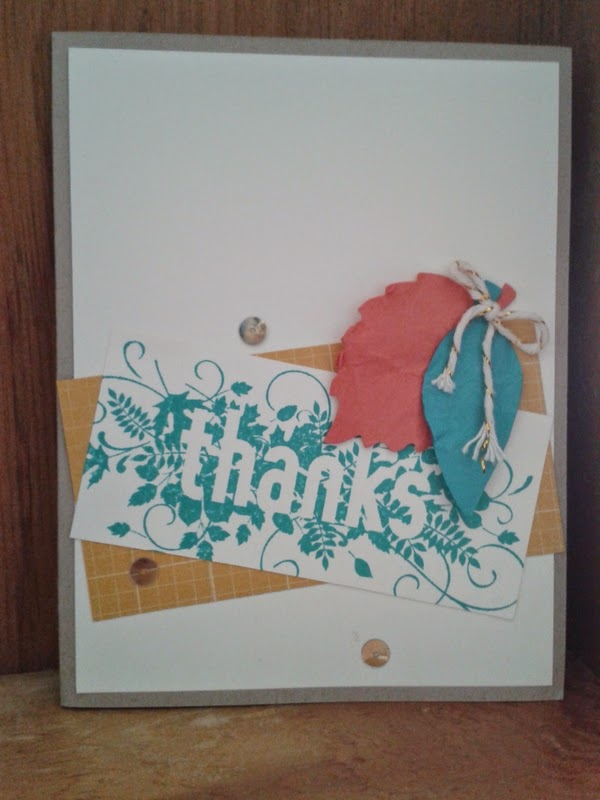 stampin up fall card, thanks