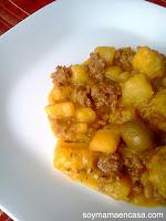 carne molida platano maduro y coco