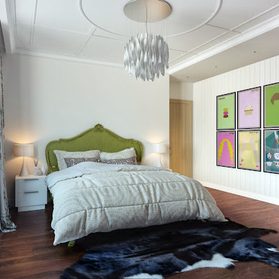 another angle of the bedroom reveals white contemporary chandelier, black animal skin rug, and fun wall decorations