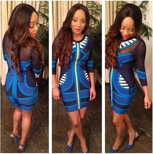 Toke Makinwa Stuns In Blue Dress
