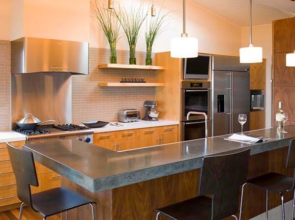 Cozinhas com bancadas de concreto design innova for Barras modernas