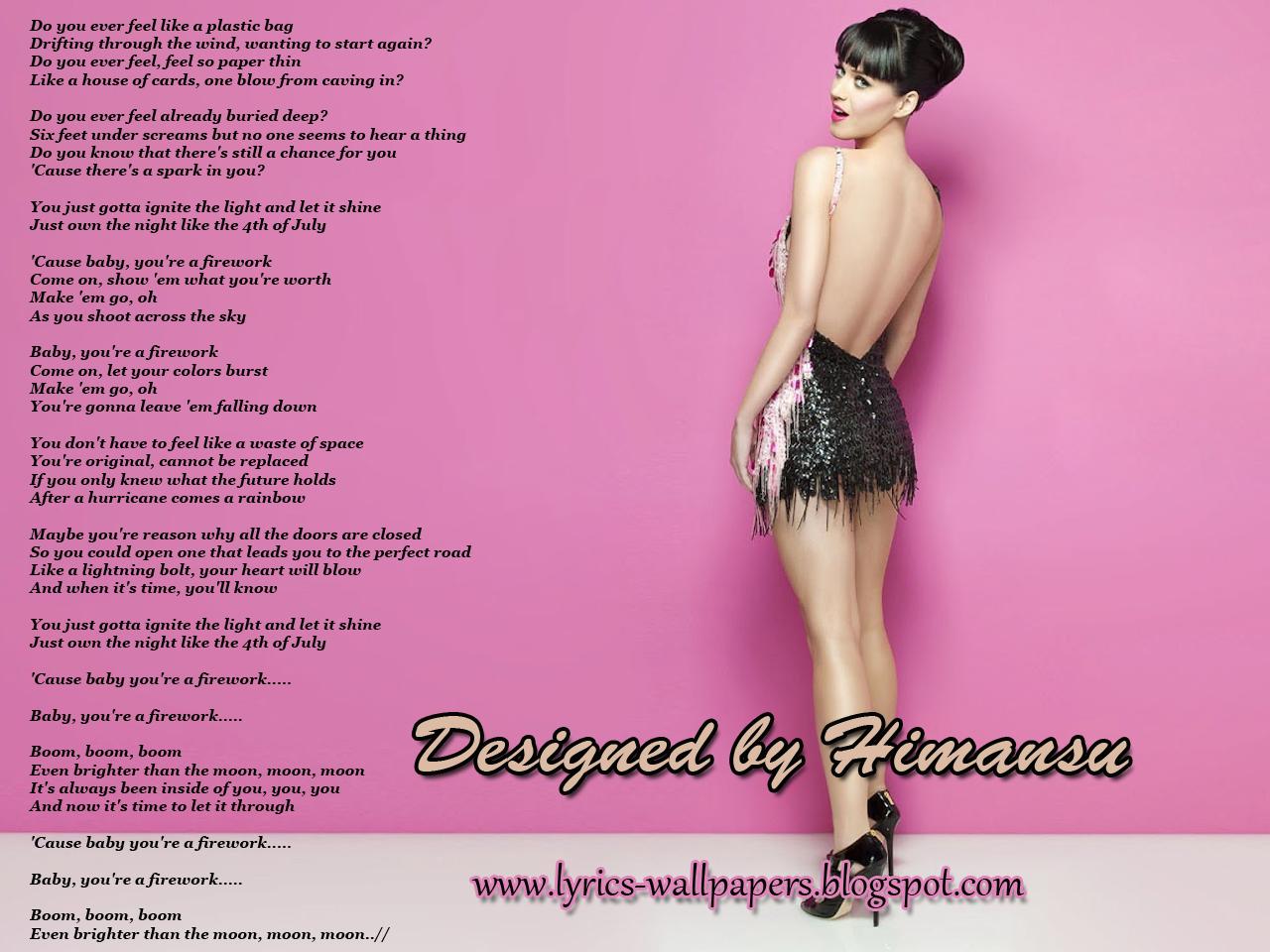 Plastic bag katy perry lyrics - Lyrics Wallpapers Katy Perry Firework