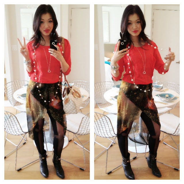 peace sign outfit, galaxy skirt from Romwe, top from Romwe, long pearl necklace, style, fashion