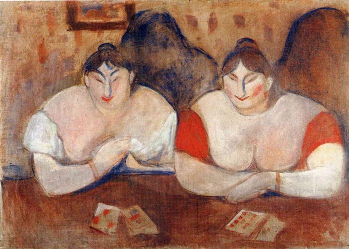 Rose and Amélie - Edvard Munch 1894 - Genre painting