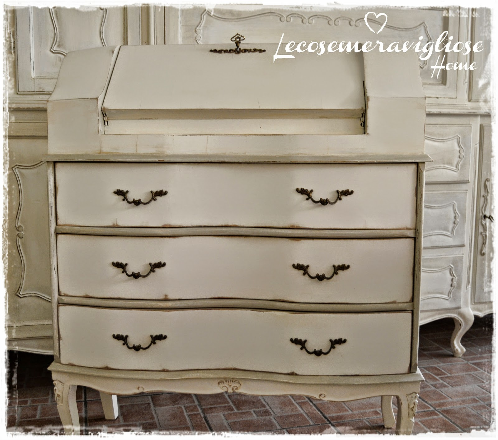 Simple shabby chic secretaire french style color with - Tende bagno country ...