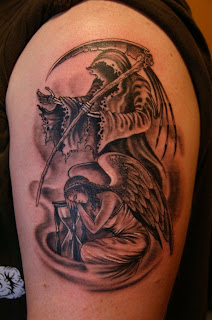 faceless grim reaper tattoo / angel tattoo