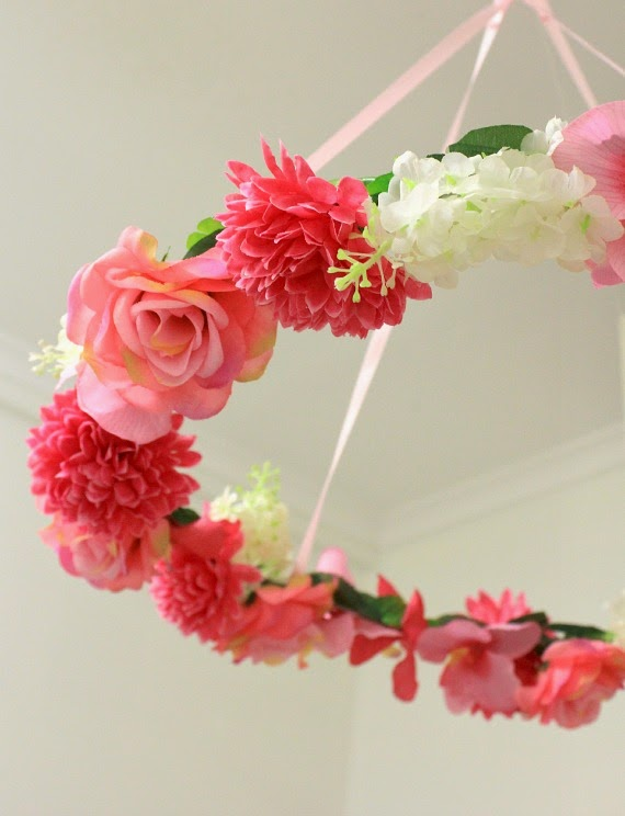 Handmade Hanging floral Wreath Table Centrepiece - perfect for a little girl's party, a wedding or engagement party. www.lovethatparty.com.au
