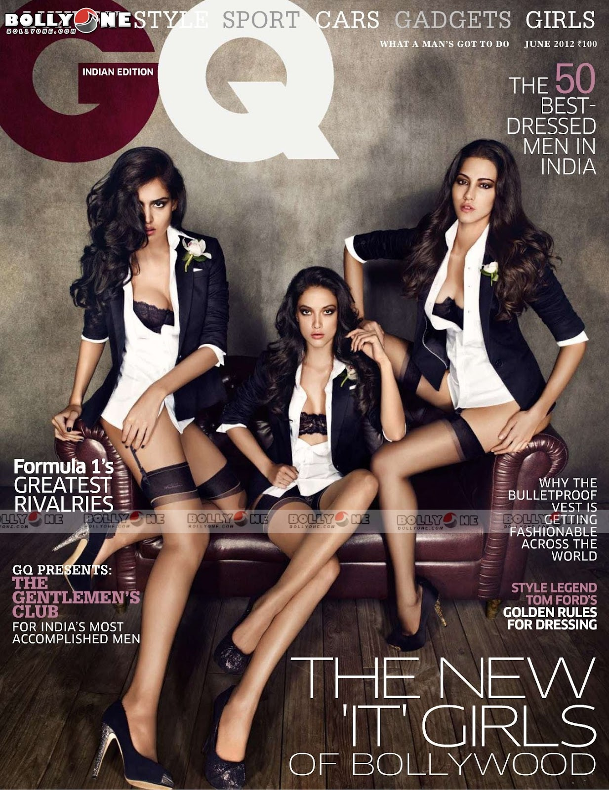 Nathalia kaur, malika haydon, and angela jonsson posing in black and  white on lmarron leather couch - Nathalia Kaur, Malika Haydon, and Angela Jonsson- GQ INDIA JUNE 2012