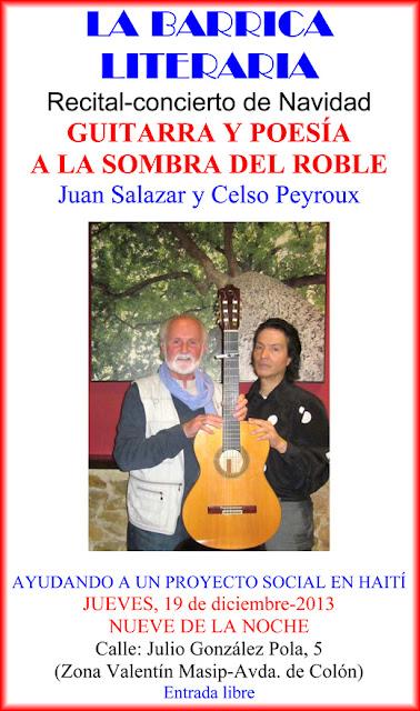 Cartel La Barrica literaria, concierto guitarra poesía Salazar Peyroux