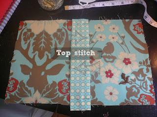 Top stitch the spine