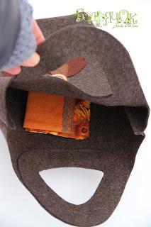 сумка из сукна, сумка из фетра, сумка для зимы