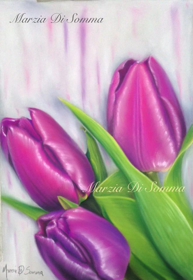 tecnica Pastello * Violet Tulips*