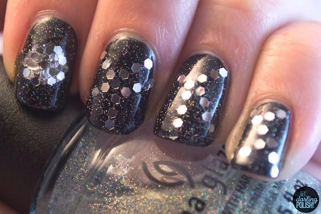 nails, nail art, nail polish, glequins, black, fairy dust, hey darling polish