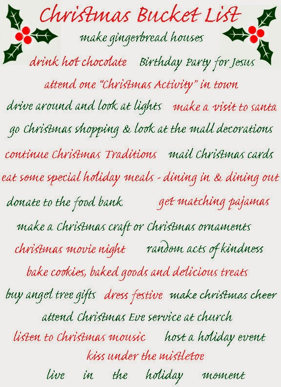 i have so many christmas traditions for the holiday season some from my family some i made up on my own some for before christmas some for the - Christmas Lists 2014