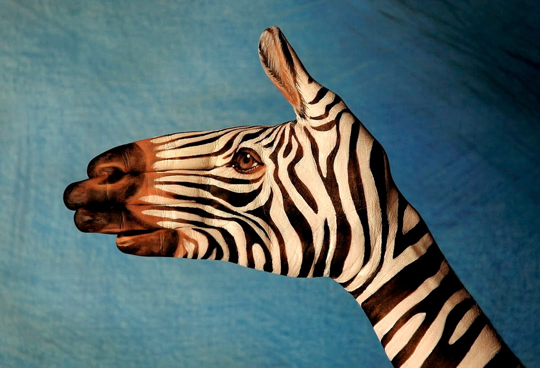 Zebra hand painting by Guido Daniele