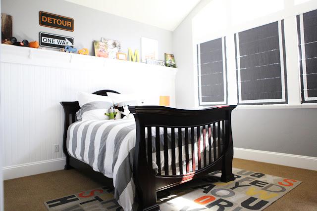 Transporation Themed Boys Bedroom Grey White West Elm Stripe Bedding
