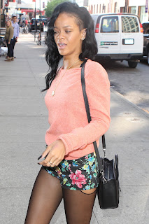 Rihanna Flashes Her Stocking Tops
