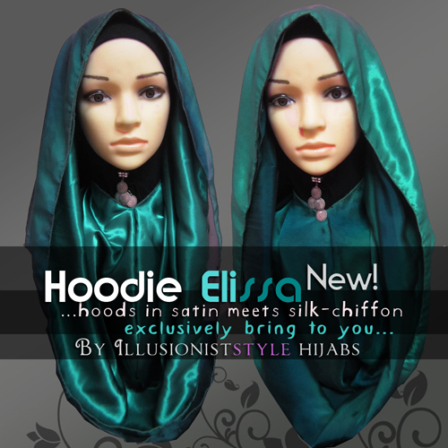 Hoodie 2-layered Satin with Chiffon ~ Illusionist Style Hijabs
