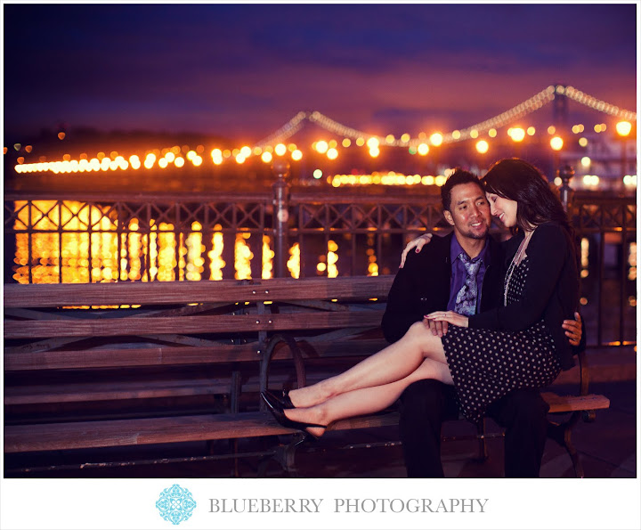 San francisco bay bridge night city scene light reflection pier engagement photography