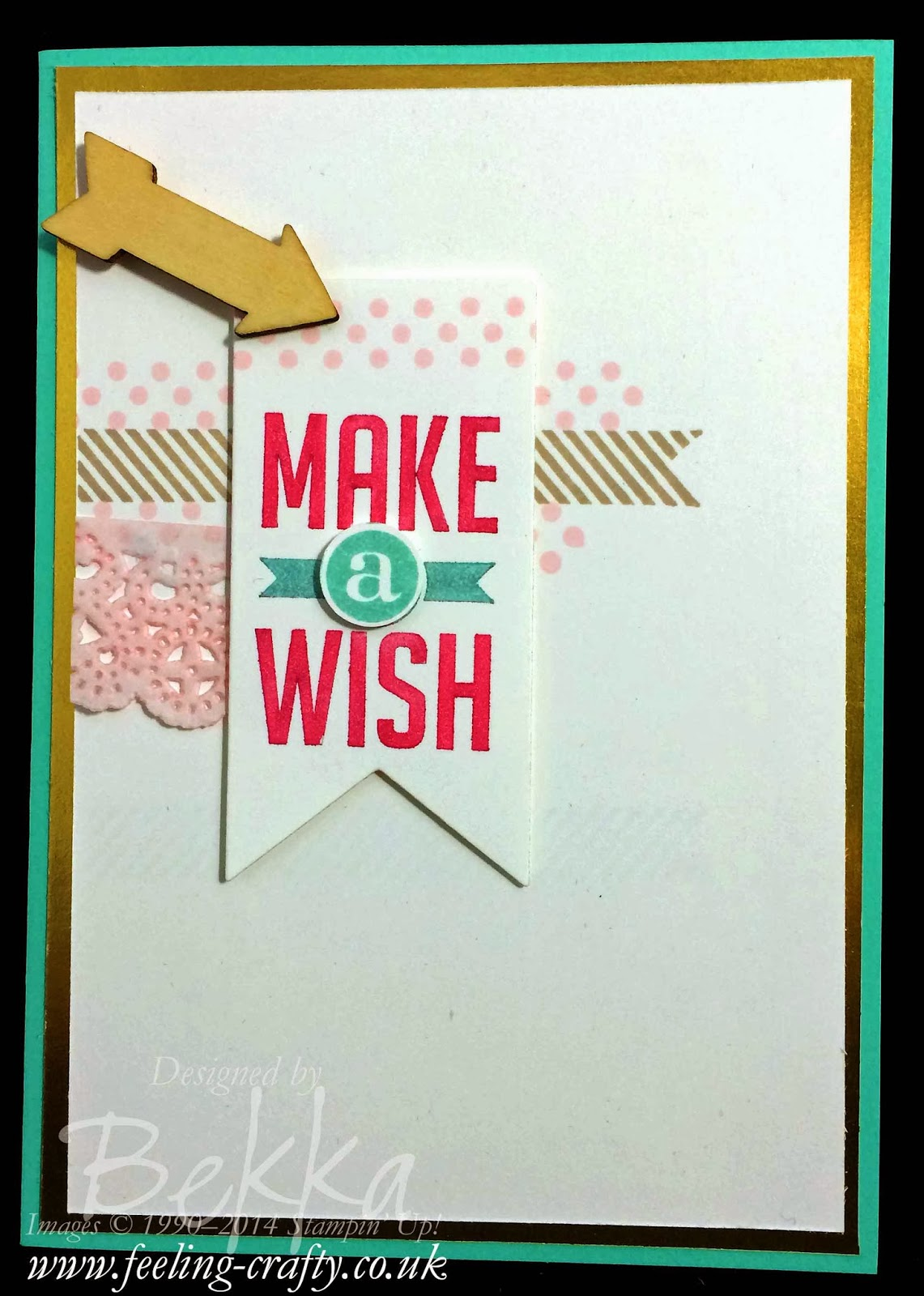 Perfect Pennats Make A Wish Card by UK based Stampin' Up! Demonstrator Bekka Prideaux - check out her blog for lots of great ideas