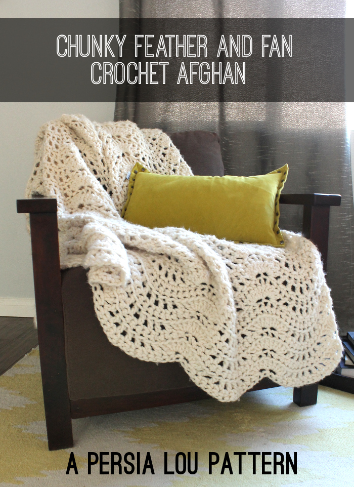 Chunky Feather and Fan Crochet Throw: Free Pattern