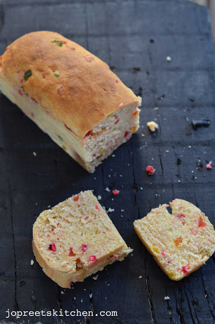 Egg-less Orange & Tutti Frutti Bread / Fruit Bun