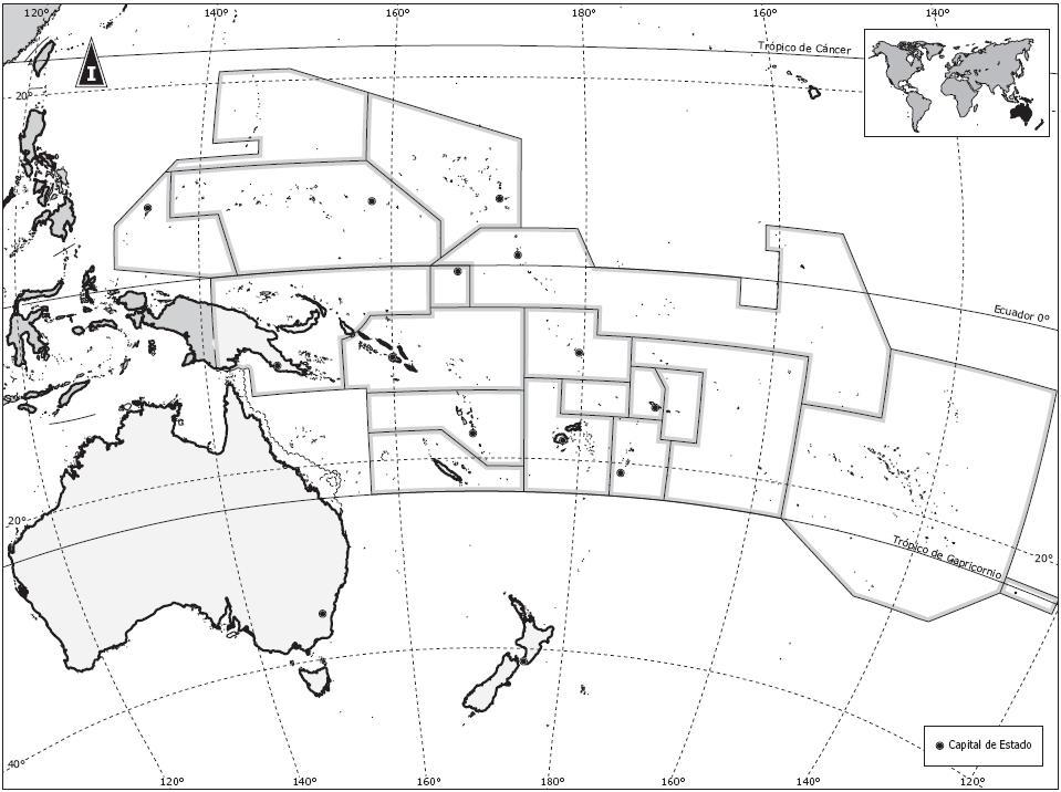 Mapa De Oceania En Blanco