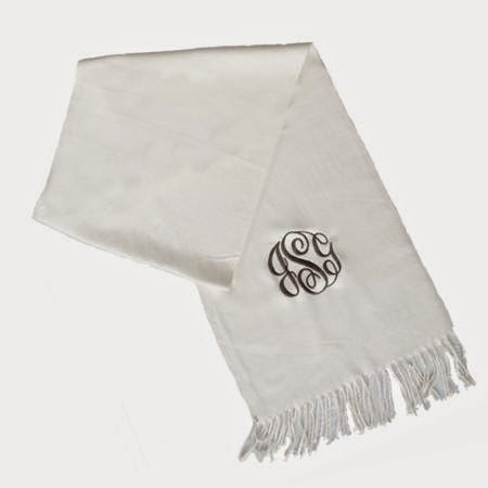 personalized embroiderd ladies scarf