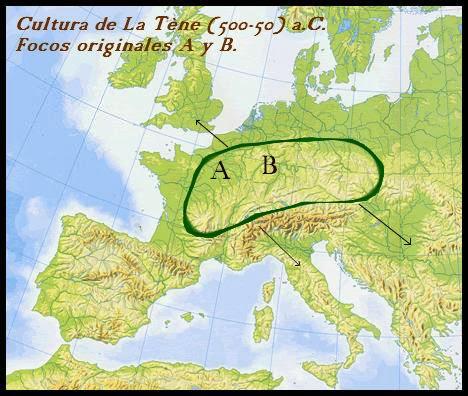 Pangea, mapa cultura celta, mundo antiguo, mundo celta, cultura lateniense, celtas, Tène, Hallstatt, celtico, celtizacion, edad del hierro, keltoi, galli, gálata