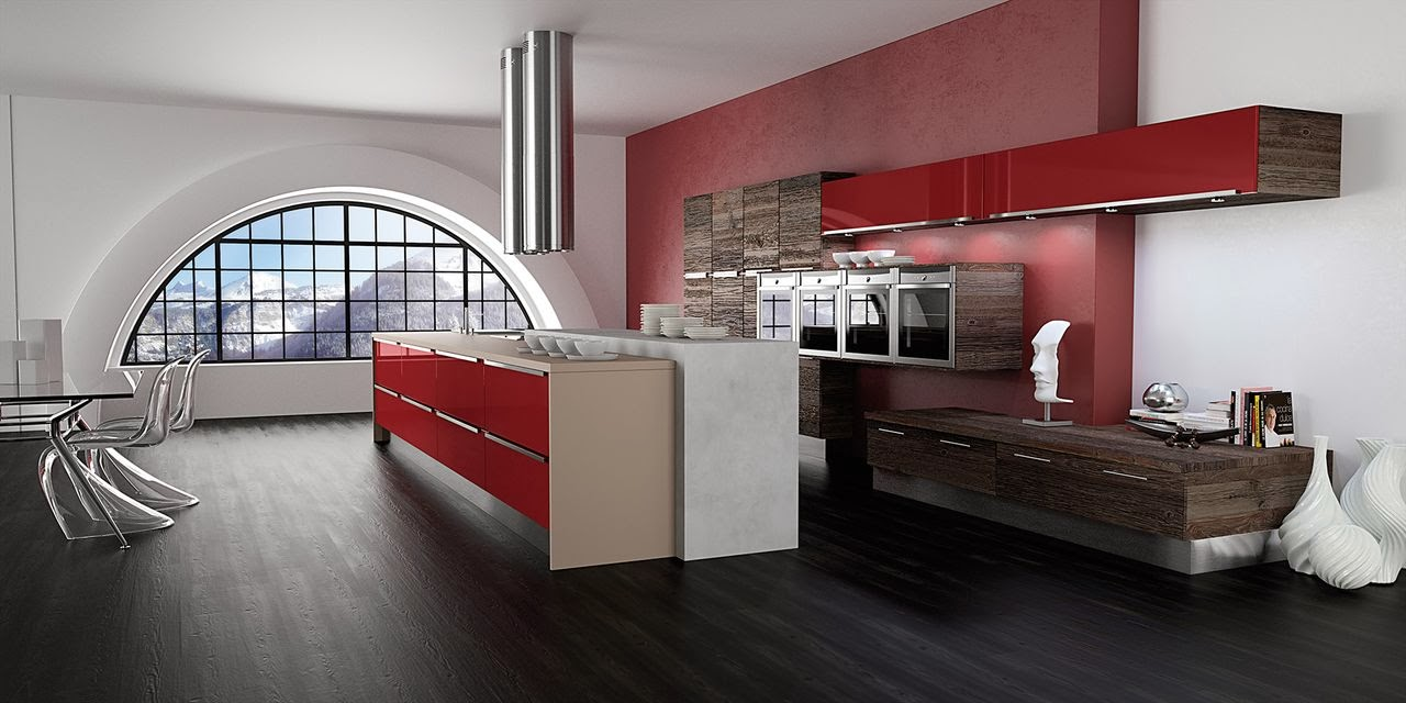 cuisine rouge. Black Bedroom Furniture Sets. Home Design Ideas