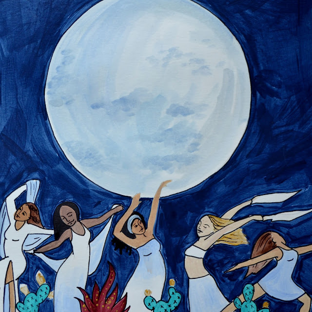blue moon dancing goddess art Spiritysol Catie Atkinson