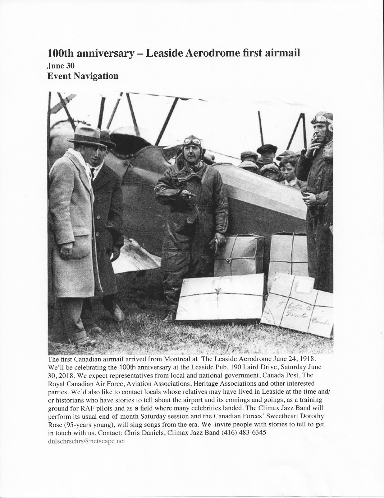 Canada's First Airmail Delivery, Leaside June 1918