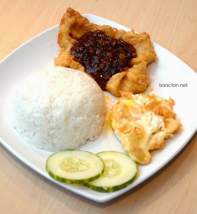 Three Taste Fish with Rice & Egg - RM 8.90