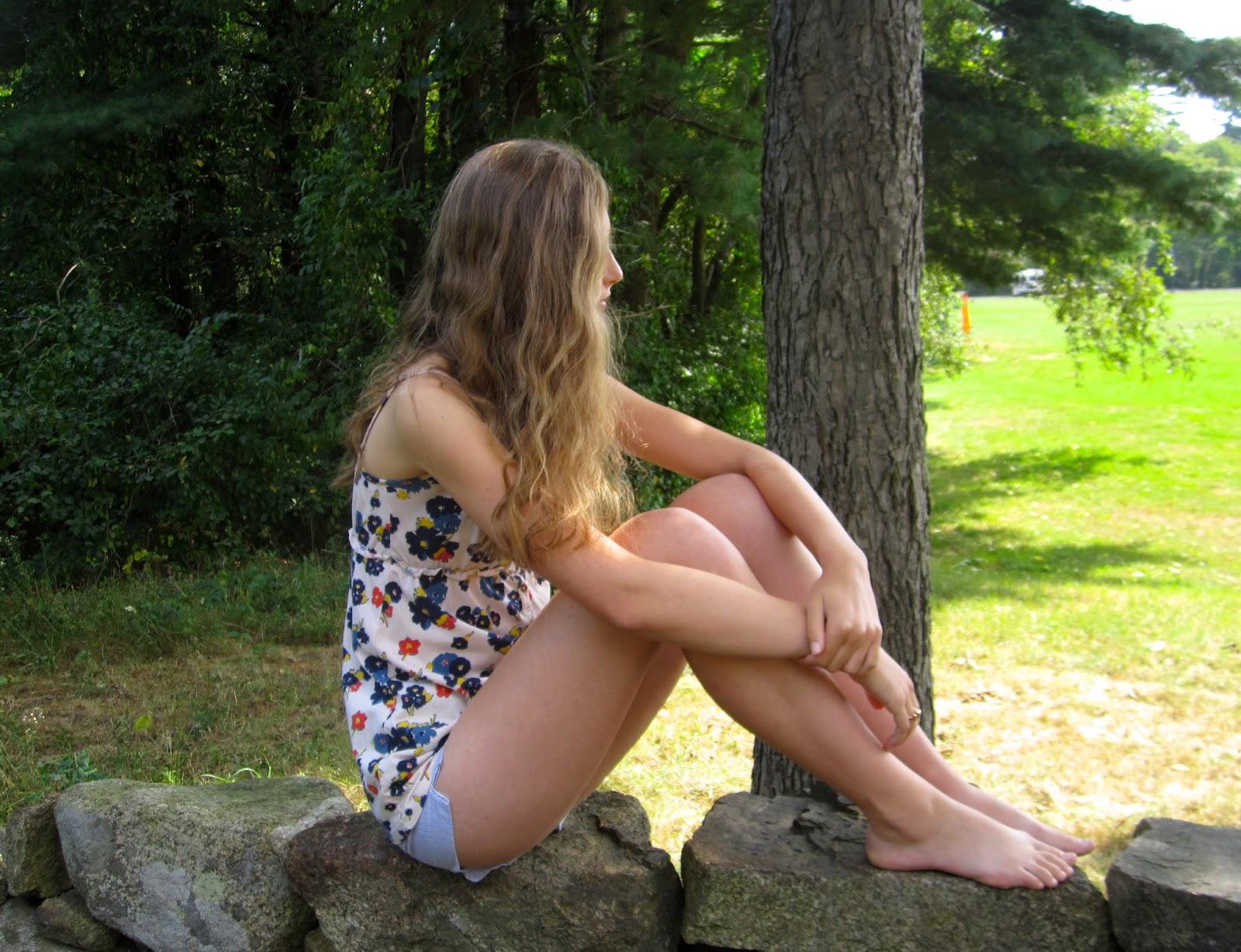 Cute young teen girl feet
