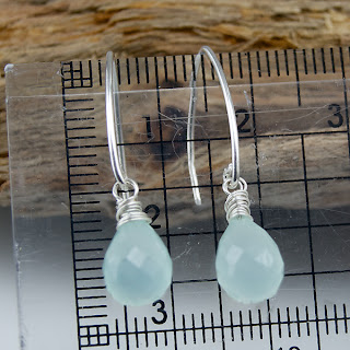 wire wrapped Calcedony Earrings