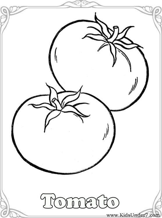 Kids Under 7 Vegetables Coloring Pages