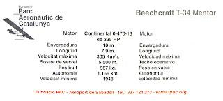 Característiques del Beechcraft T-34 Mentor de l'FPAC.