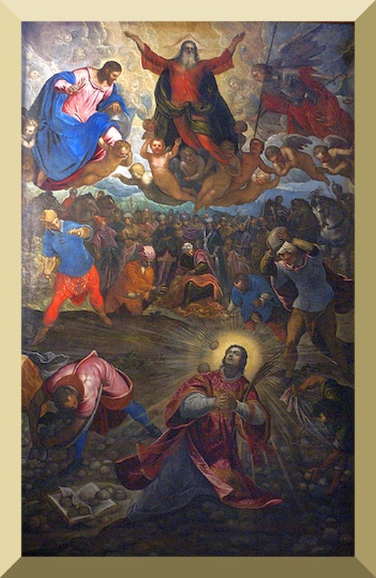 """Stoning of Saint Stephen"", altarpiece of San Giorgio Maggiore, Venice, by Jacopo & Domenico Tintoretto"