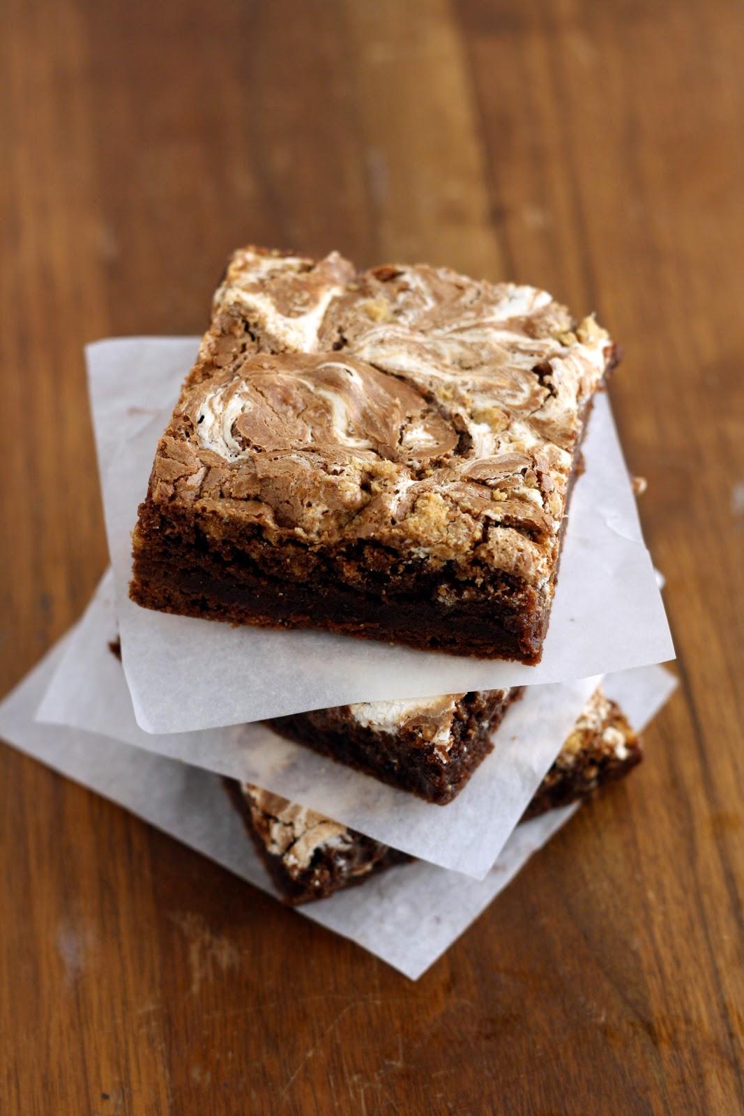 dinner or dessert: s'mores swirl brownies