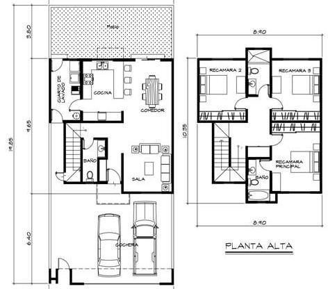Planos de casas de dos pisos con medidas y fachadas gratis for Planos y fachadas de casas