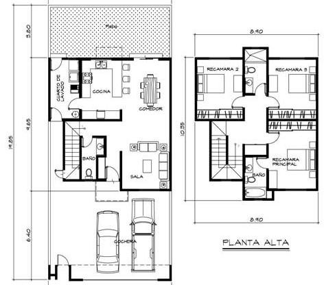 Fachadas para casas dos plantas yakaz inmobiliario car for Planos arquitectonicos de casas
