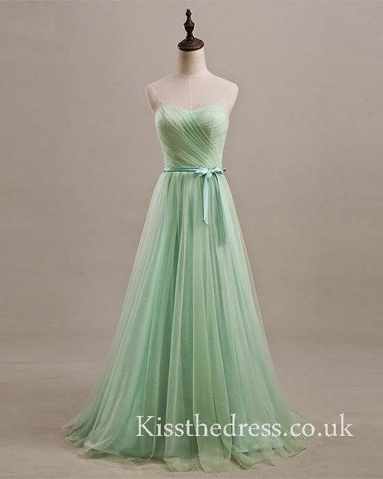 mint long bridesmaid dress