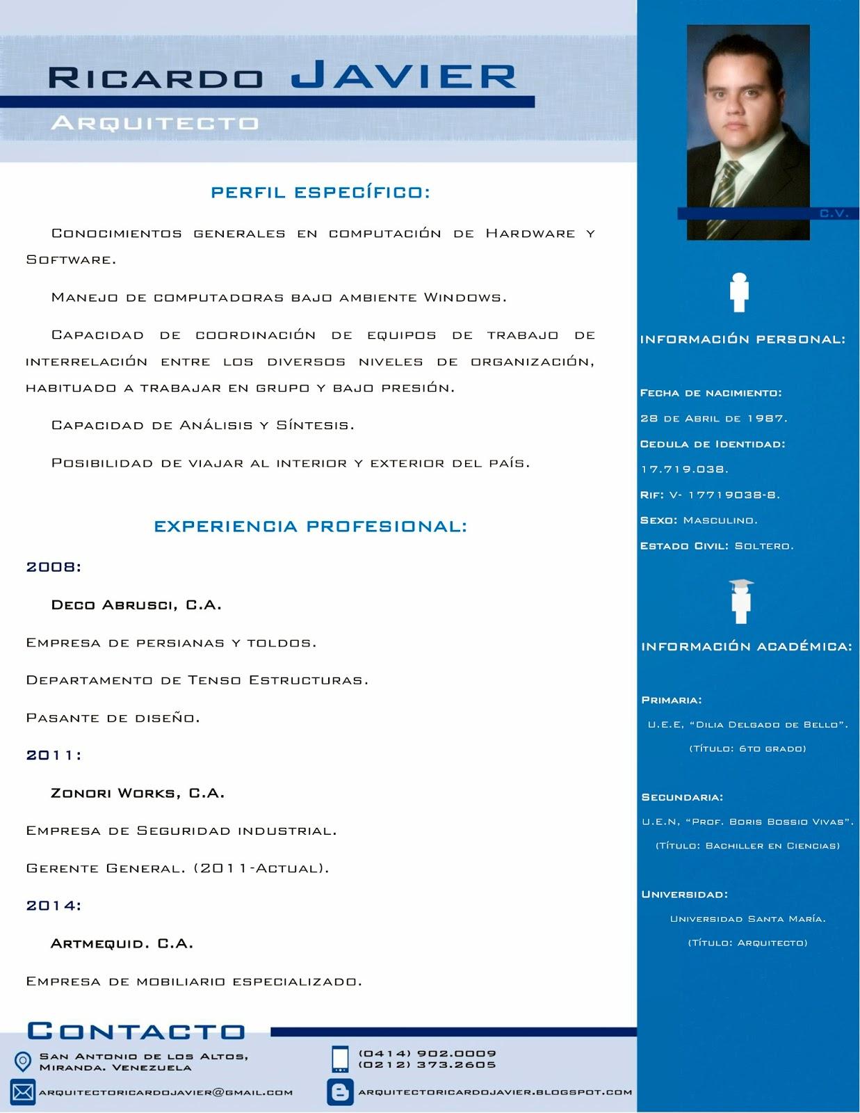 Arquitecto ricardo javier for Curriculum arquitecto