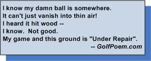 funny golf limerick poem lost ball ground under repair