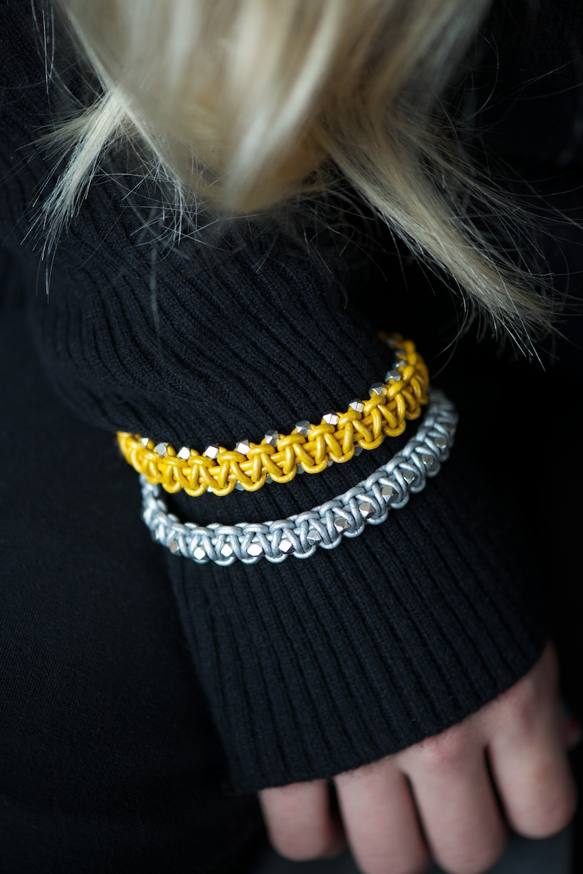 leather and bead macrame bracelet tutorial the beading