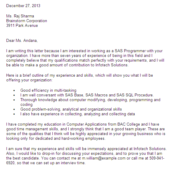 Cover Letter For SAS Analyst / Programmer