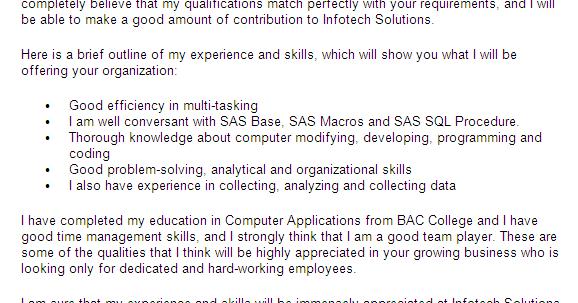 Cover Letter For SAS Analyst / Programmer