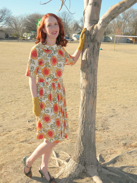 1940s Pornette dress redhead mustard gloves fall colors Just Peachy, Darling