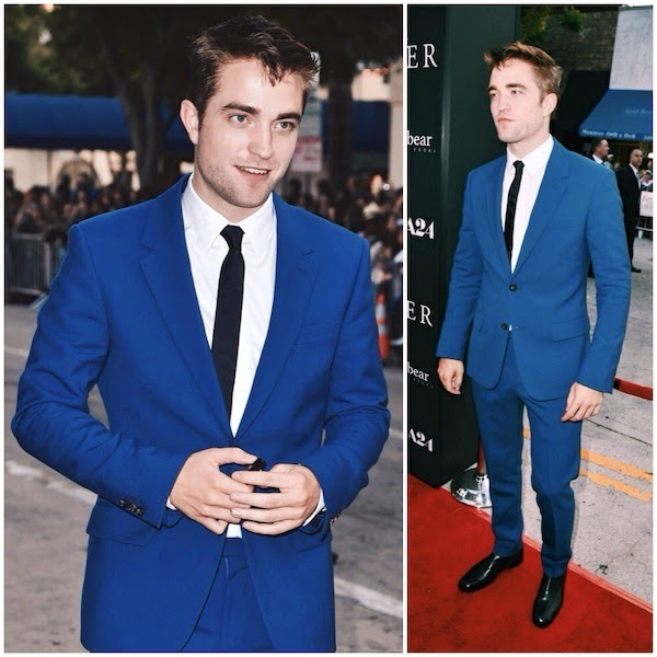 Robert Pattinson Alexander McQueen blue suit - 'The Rover' Los Angeles Premiere 12 June 2014