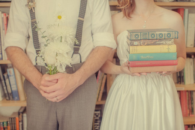 Amber and Brian's book themed wedding photography
